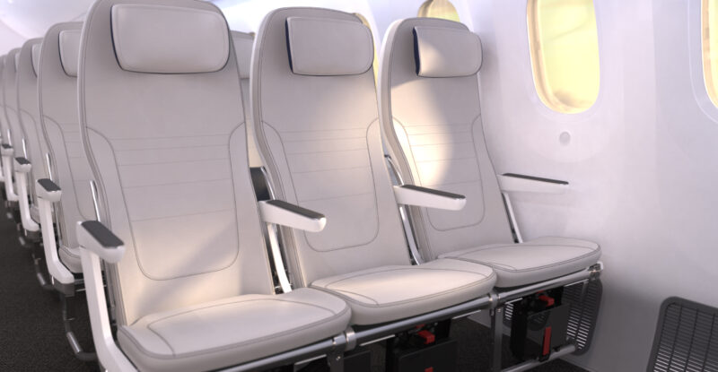 Adient Aerospace Ovation seat version for the B787. All white in a 3 seat layout.