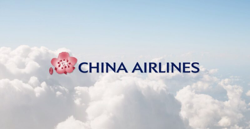 China Airlines logo on a backdrop of puffy white clouds.