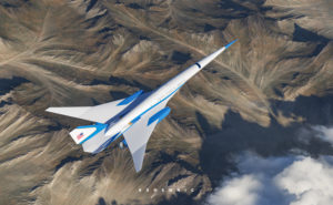 A rendering of the Exosonic supersonic jet in blue and white, and with the words United States of America on it