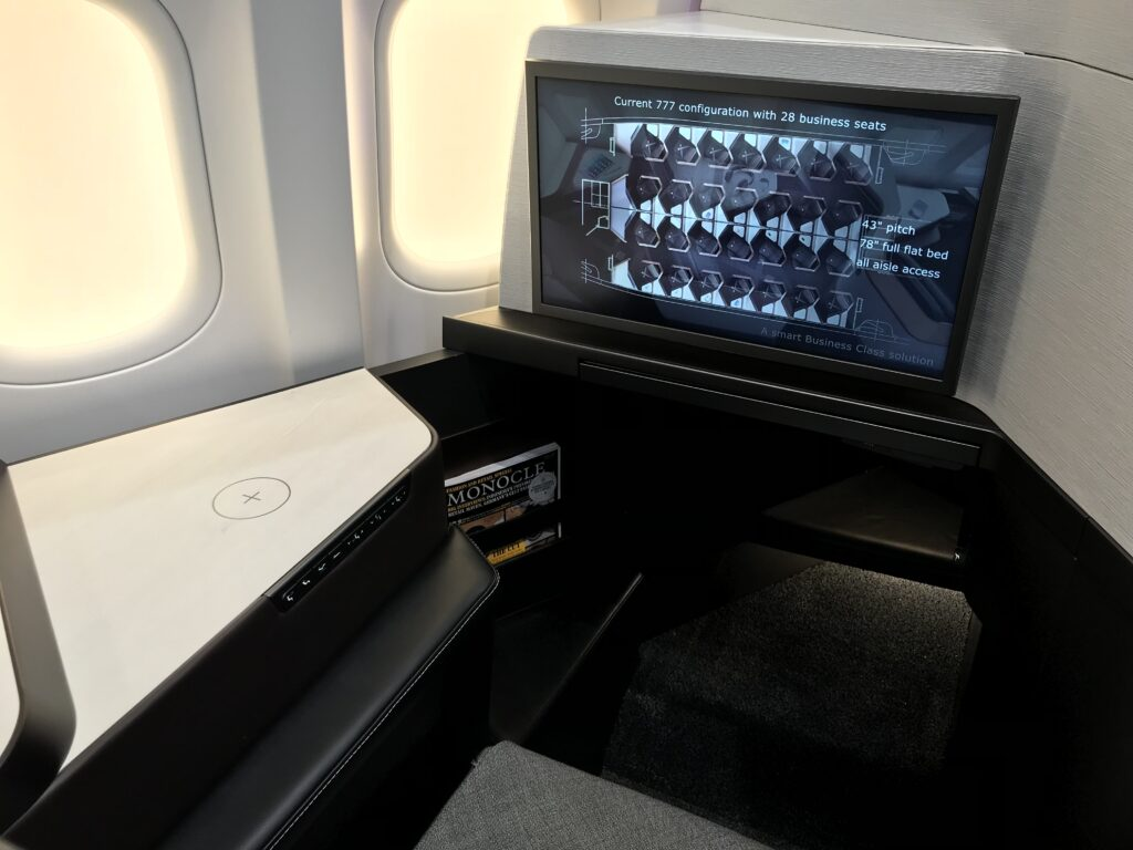 Elements suite is shown here in view of the IFE screen and aircraft window.