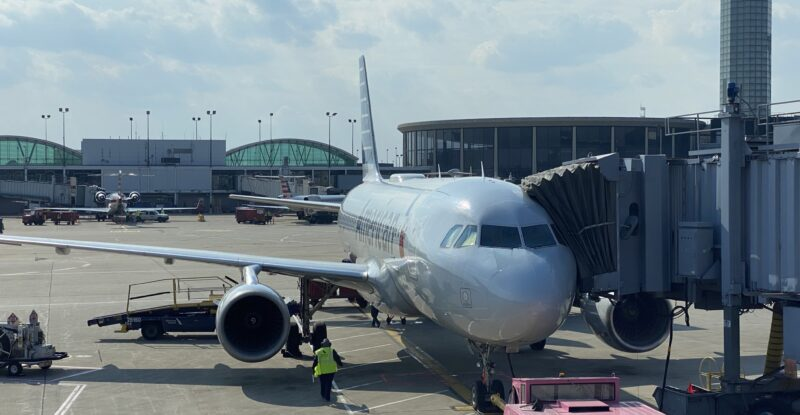 American Airlines Airbus A319 at the gate in Chicago O'Hare Airport