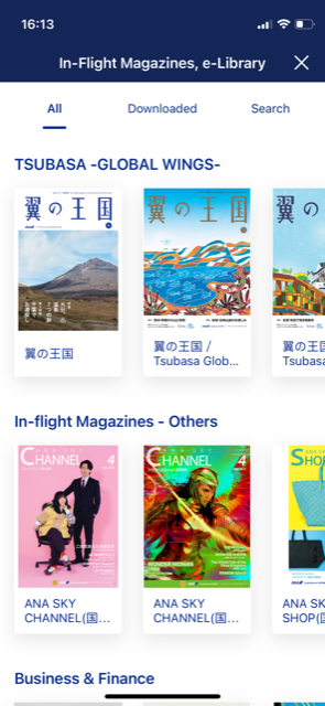 Landing page of the inflight magazine e-library showing different titles.