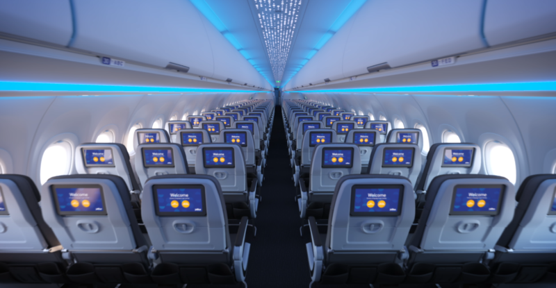 Jetblue economy cabin 3-3 configuration from the back showing embedded ifeé