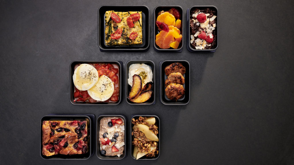 Nine breakfast dishes in sets of 3 on a charcoal backdrop that will be part of Core Economy