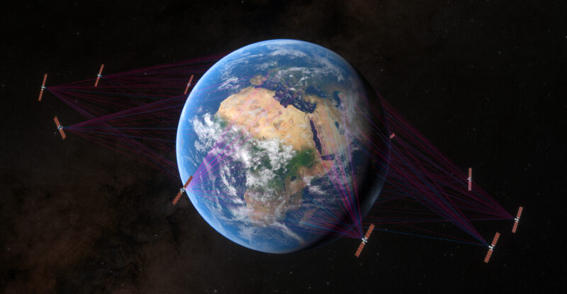 A visual of earth from orbit showing O3b mPOWER Constellation with SES