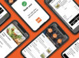 Multiple mobile devices laid out on an orange backdrop. Each device shows a different landing page of the OTG ordering app.