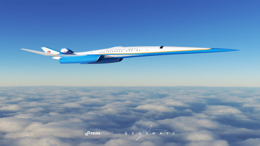 Aerial rendering of the supersonic aircraft in-flight over a layer of clouds.
