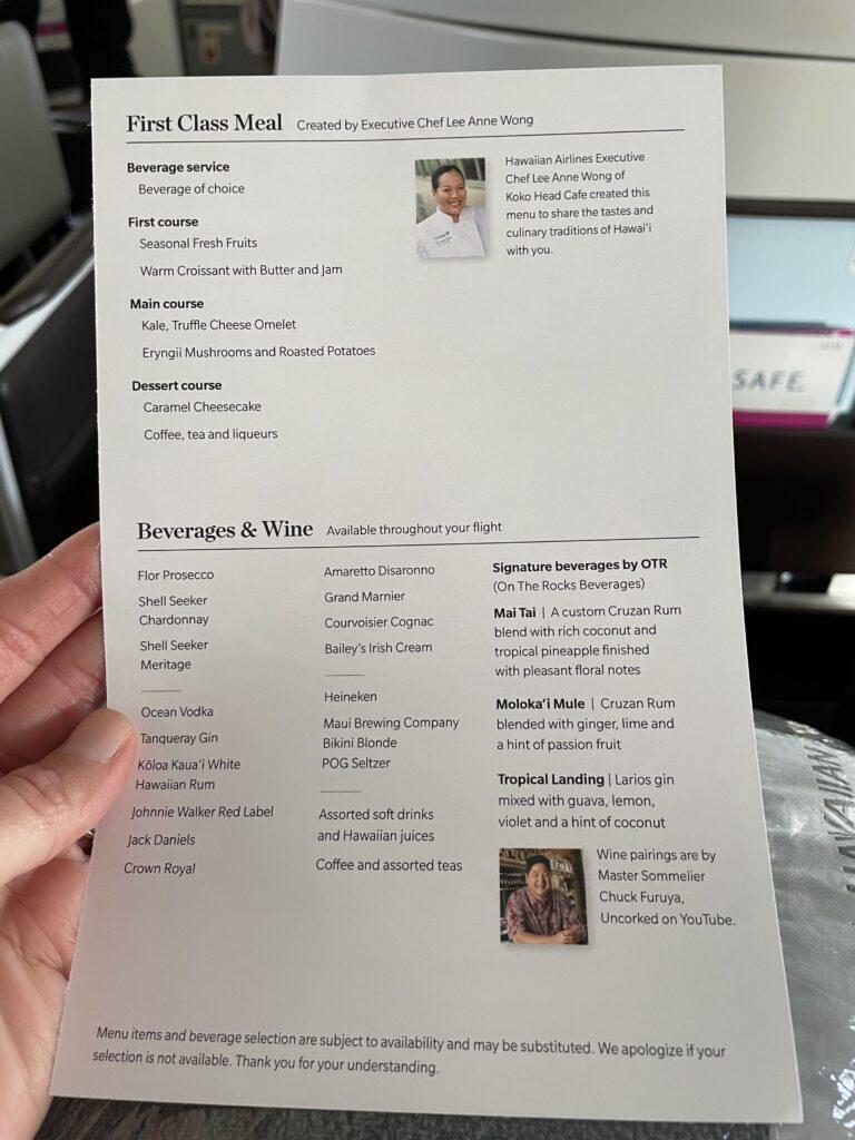 Menu card for Hawaiian Airlines.