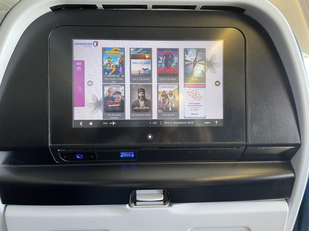 IFE screen, embedded seatback on Hawaiian Airlines flight