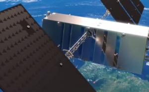 Telesat Phase 1 LEO Satellite in orbit above the earth, with antenna support, lightspeed