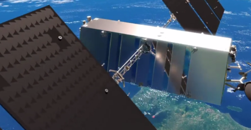 Telesat Phase 1 LEO Satellite in orbit above the earth, with antenna support, lightspeed
