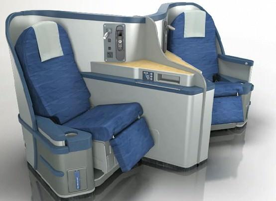 US Airways' original Cirrus seat in blue and grey