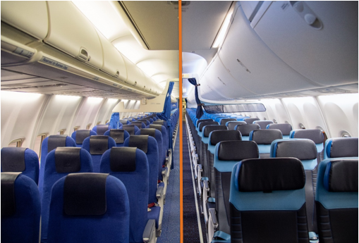 KLM's old cabin seating to the left and the new cabin seating is displayed on the right. both are browns and blues.