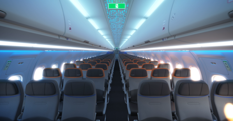 JetBlue Core economy cabin interior showing 3-3 configuration with bright blue LED Lights
