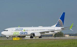 United Eco-skies aircraft on runway