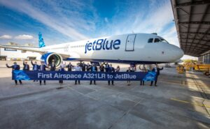 JetBlue A321LR in front of the Airbus Delivery Center in Hamburg, Germany
