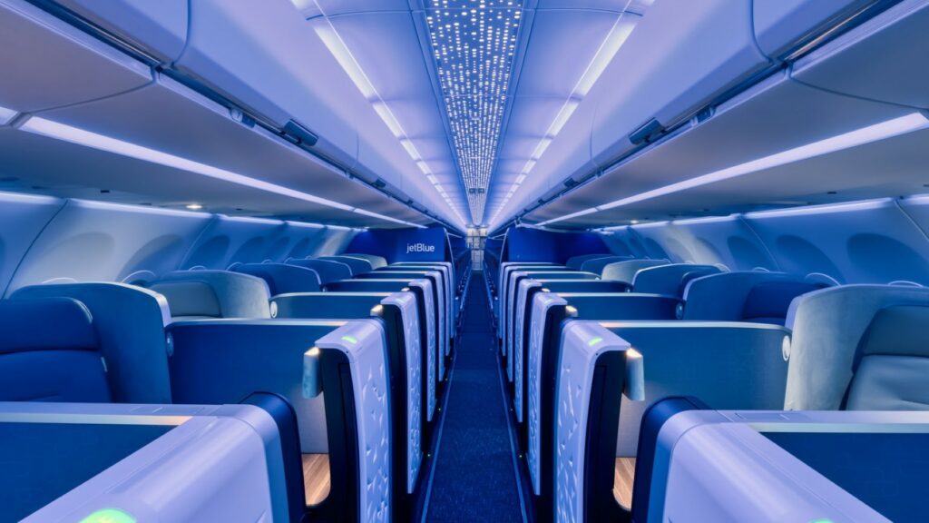 JetBlue A321LR with Airspace interior in a variety of blue hues.
