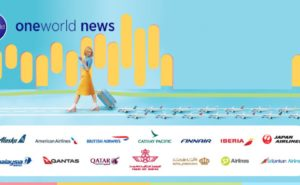 cartoon women dressed in yellow with a rollaway suitcase and a mobile phone in her hand and a bunch a mini planes following behind her. All above all the OneWorld Alliance members logo.