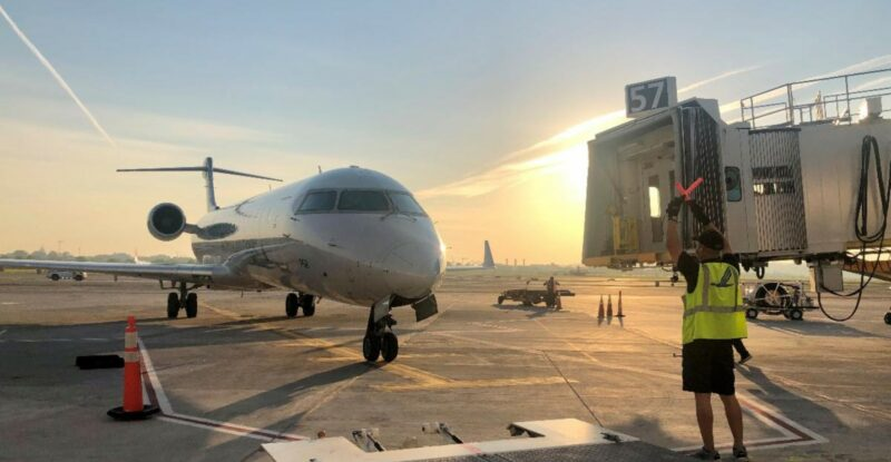 American Airlines flight 5518 from Albany, New York, was the first flight to arrive at the new 14-gate concourse Tuesday morning.