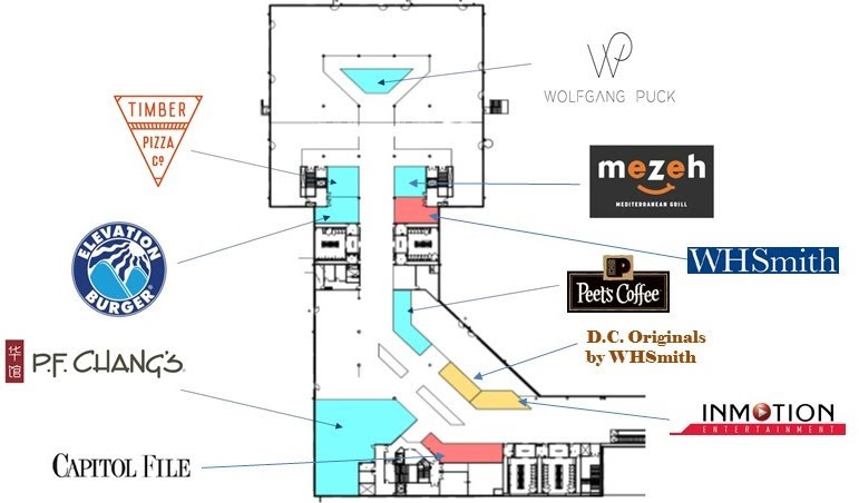 At full buildout, 10 shopping and dining options will be conveniently located near the concourse's 14 gates.