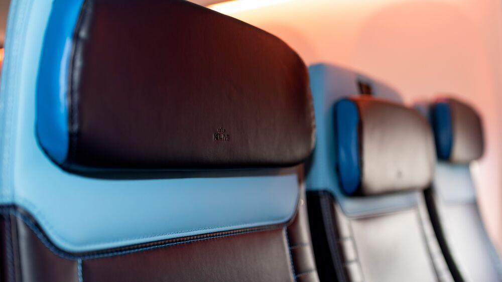 737 KLM retrofit seat deep brown headrest with blue outer edge.