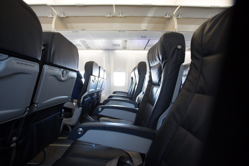 Boeing 737-800 aircraft seat.