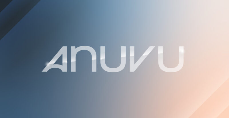 Anuvu lettering across an ombré background blue to brown.