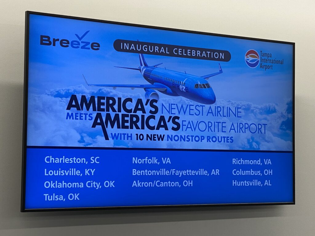 A large screen, celebrating the Breeze inaugural from Tampa today