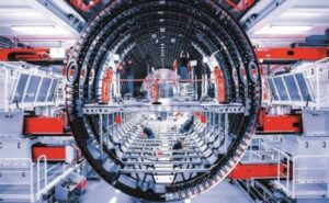Airbus aerostructures facility. Large circular object reaches down through the entire space.