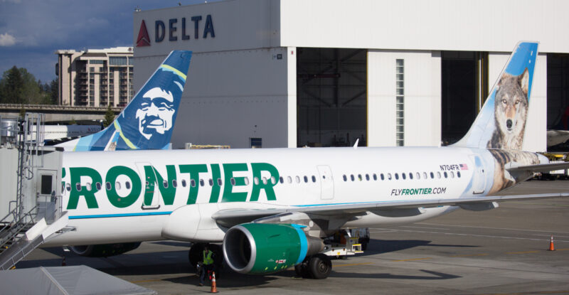 Frontier Airlines Airbus A321 at the gate