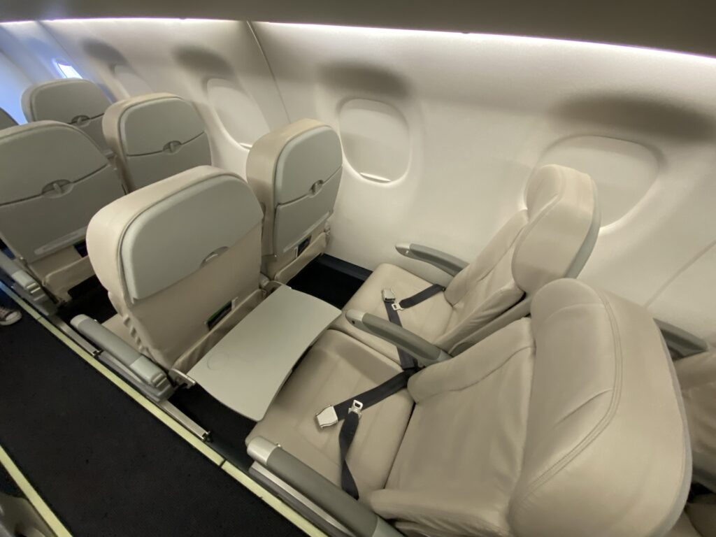 A top-down view of Breeze's beige seats, tray table and seatbelts