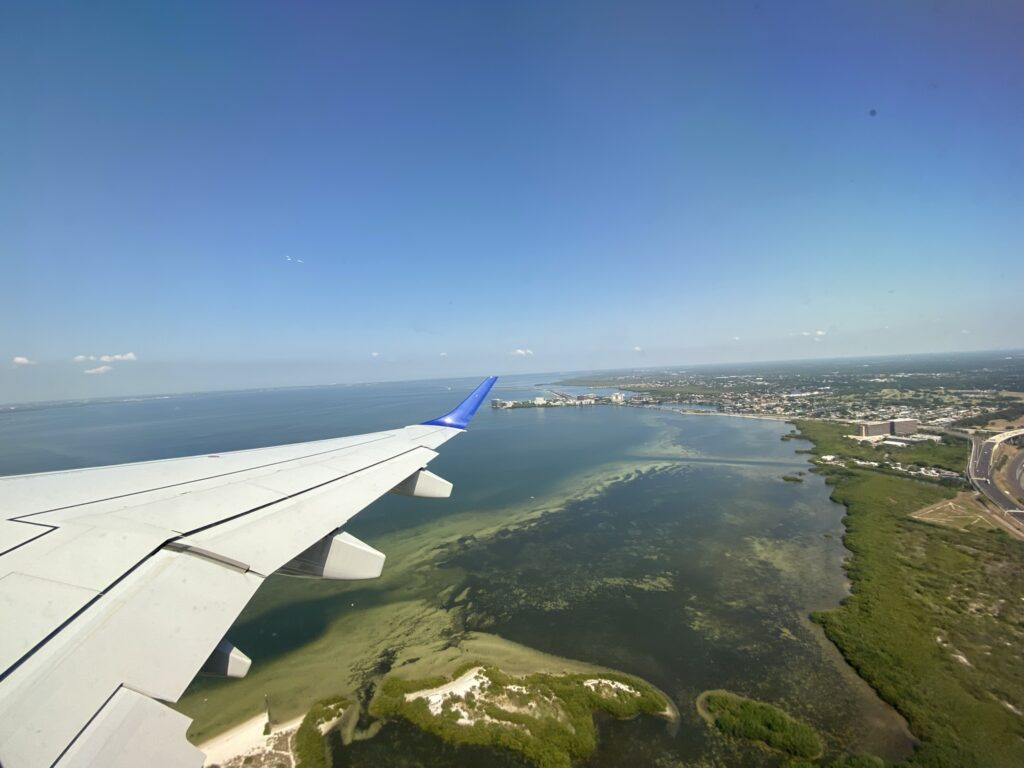 The Breeze jet takes off from Tampa on a gloriously sunny day
