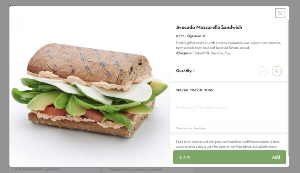 Screenshot of the dean & david sandwich menu item, with details and prices.