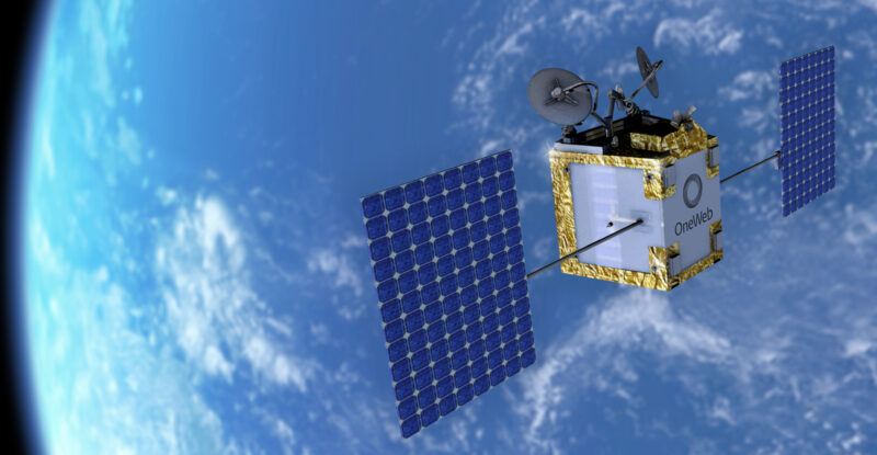 OneWeb satellite in low earth orbit with a great view of planet Earth.