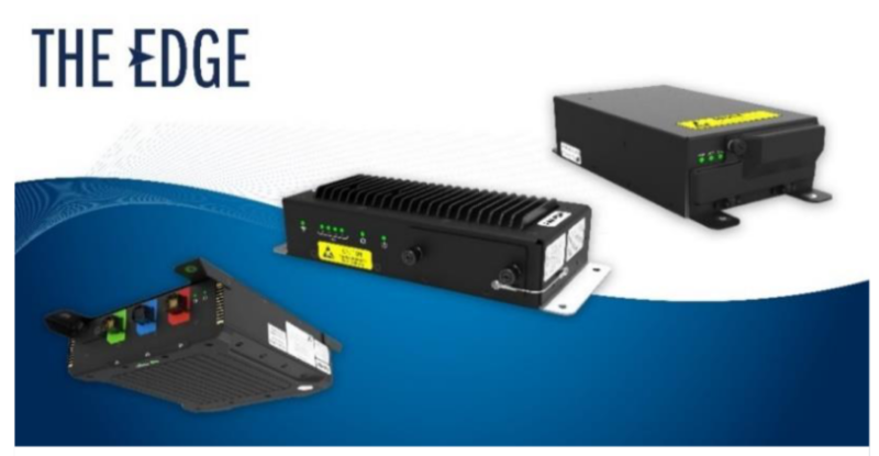 Astronics' Edge Distributed IFE Platform enables modular, secure and cost-effective in-flight entertainment. This image is of 3 pieces of hardware on a blue and white background.