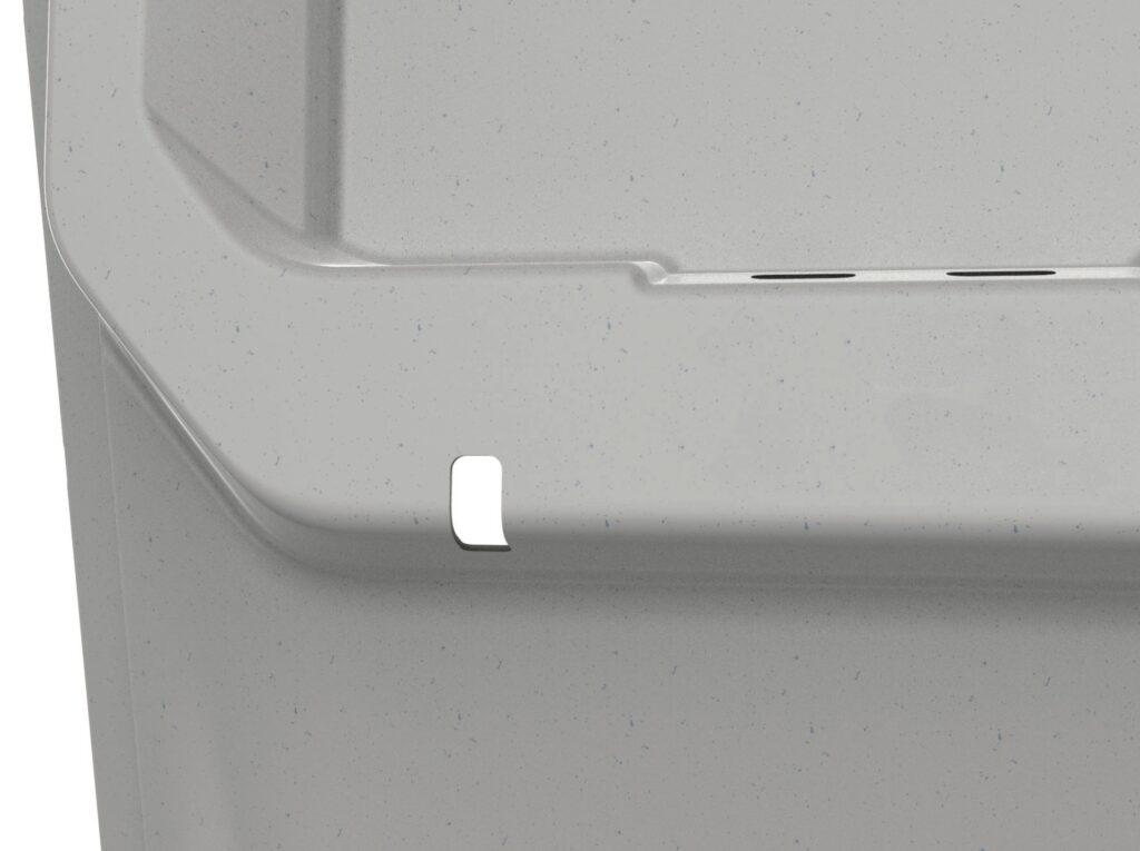 Up close shot of a Terreform aircraft seatback in basic grey. Image: Boltaron