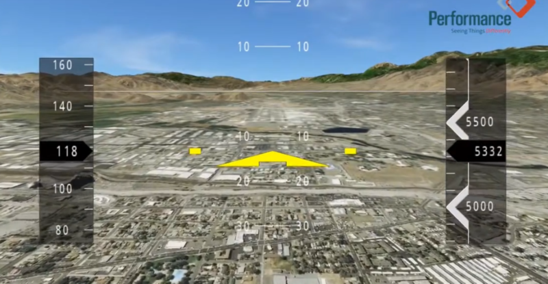 Digital map indicating different details as an aircraft lands.