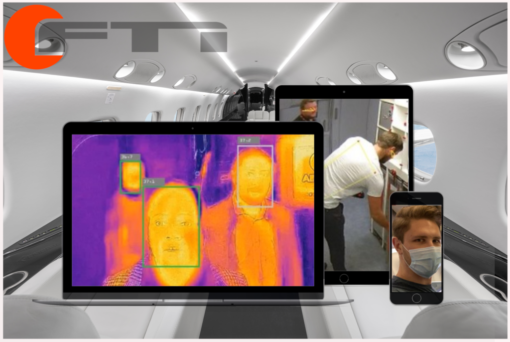 A variety of devices displaying different things of SmartCabin. Hygienically safe air travel.