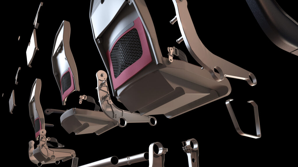 Rendering of the Geven SuperEco seat. This image is showing the seat architecture and individual parts.