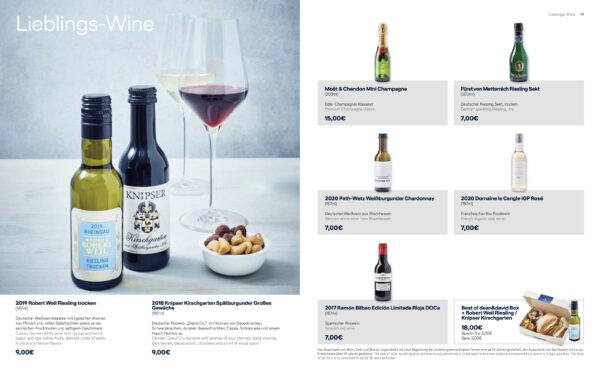 Smenu page showing the selection of wines, with details and prices.
