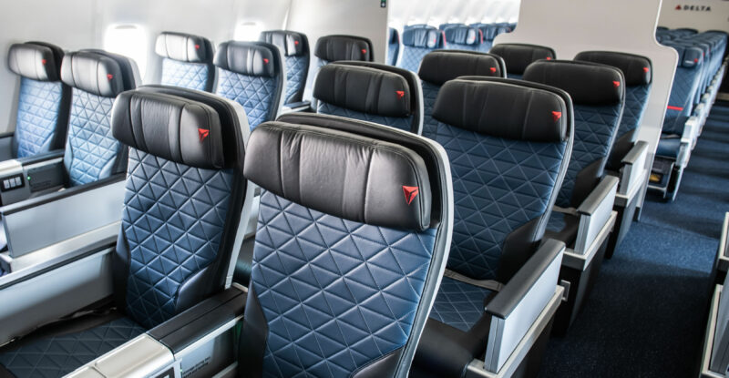 Delta Premium Select seat in blues and dark greys.