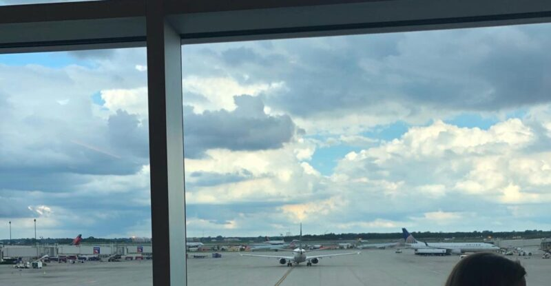 Aircraft outside of an airport window