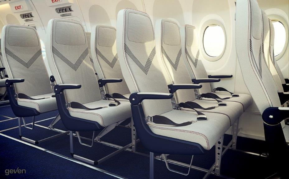 Rendering of the Geven superEco seat. View from the front-side angle in groups of 3 on an aircraft.