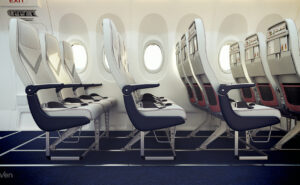 Rendering of the Geven SuperEco seat. View of multiple seat triples on board an aircraft, shown from a side angle.
