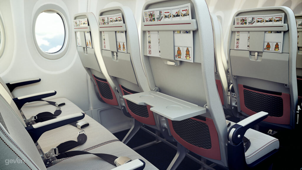 Rendering of the Geven SuperEco seat. View from the seatback of seat triples.