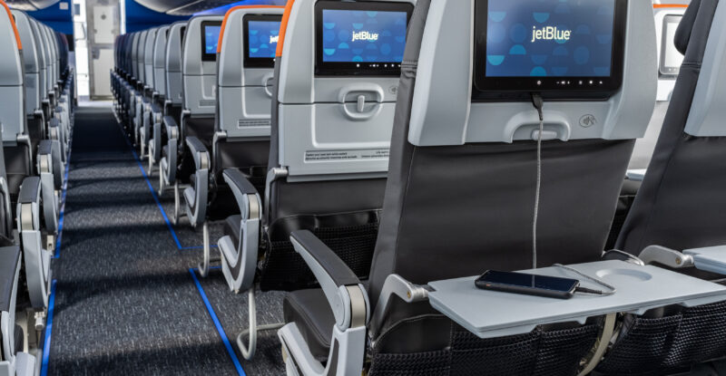 JetBlue A220 Economy class seatback with embedded IFE.