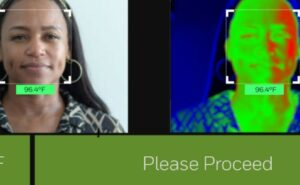 Split screen. Left side of the image is a photo of a woman. Right side of the image is a thermal reading of that same woman.