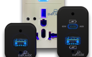 Various EmPower charging ports on a white background.