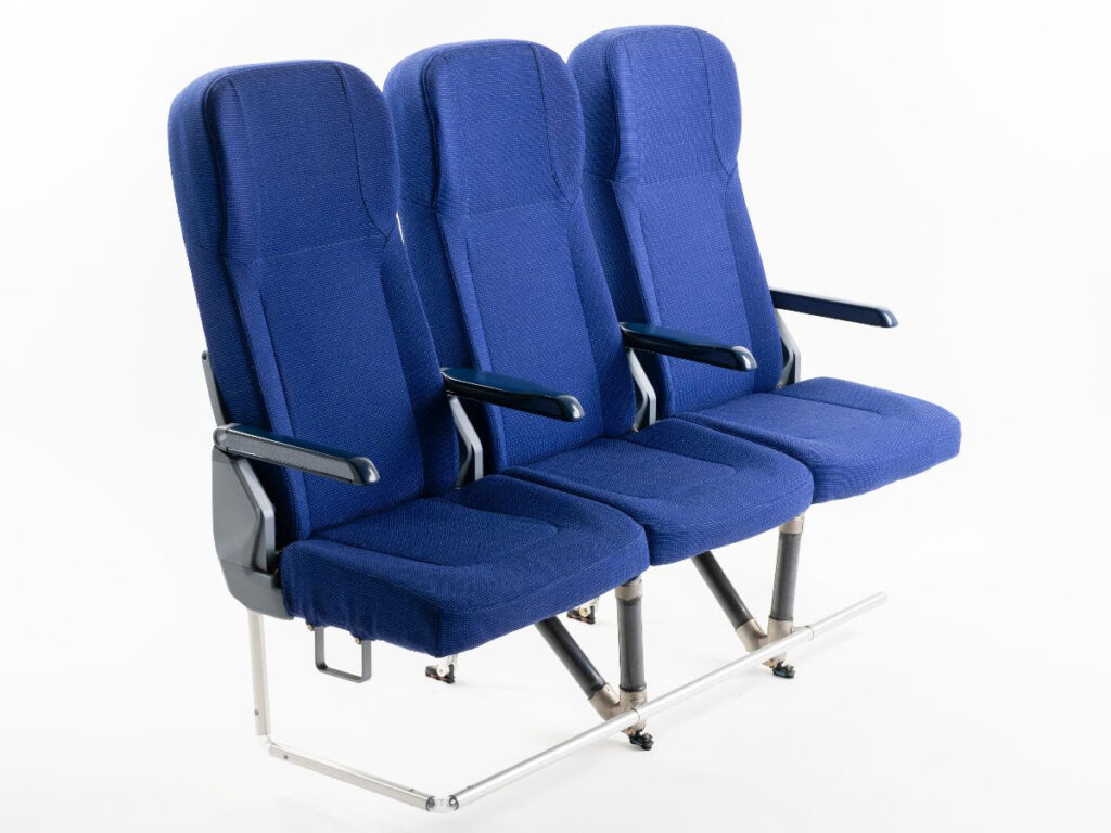 TiSeat E2 for Airbus A320 family in blue displayed on a white background.
