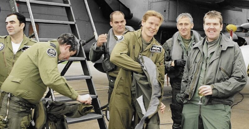 Hickson marking her last fast jet flight with colleagues